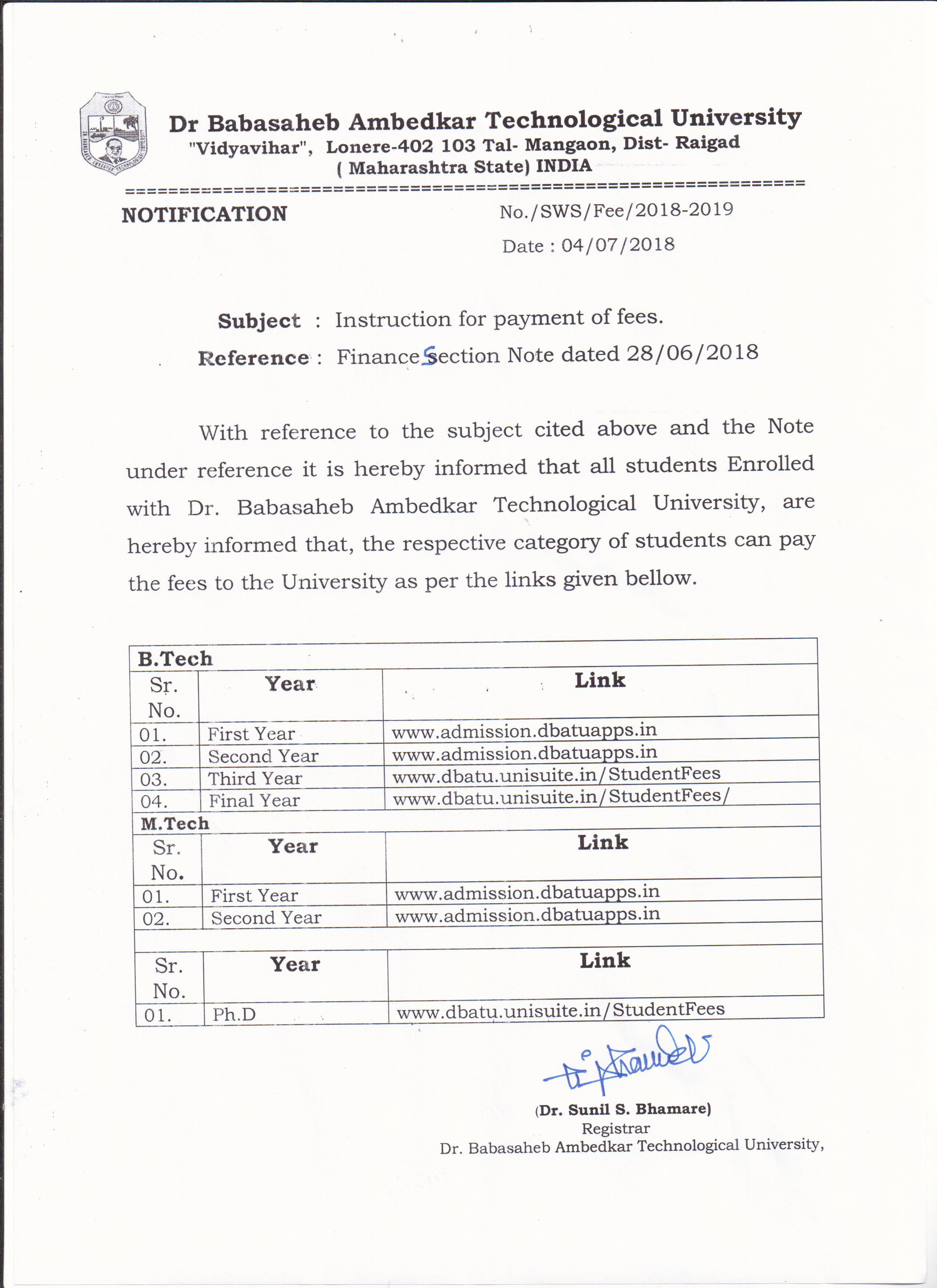 47ea3151d6cf Fees Sructure  2018-19 – Dr. Babasaheb Ambedkar Technological University